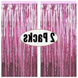 FECEDY 2pcs 3ft x 8.3ft Light Pink Metallic Tinsel Foil Frin
