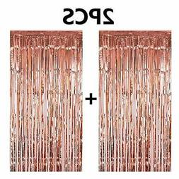 FECEDY 2pcs 3ft x 8.3ft Rose Gold Metallic Tinsel Foil Fring