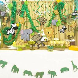30 Pack Jungle Theme Hanging Animals Decorations Children Bi