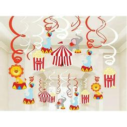 30Ct Circus Hanging Swirl Decorations Carnival Birthday Part