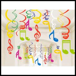 30ct colorful music sign hanging swirl decorations