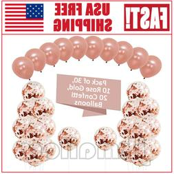 30PCS 12'' Rose Gold Confetti Foil Balloons Set Party Birthd