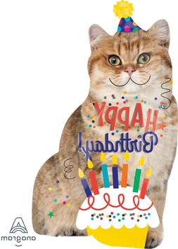 "Anagram  33"" Happy Birthday Cat Balloon Supershape Party Dec"