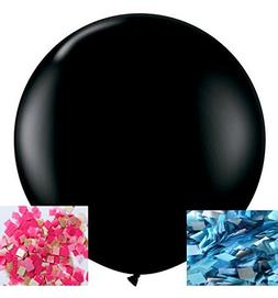 36'' Gender Reveal Confetti Balloon Black - with Pink and Bl