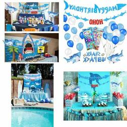 39 PACK Shark Birthday Party Decorations For Kids Happy Bann
