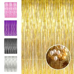 3x8ft Metallic Tinsel Foil Fringe Curtain for Party Photo Ba