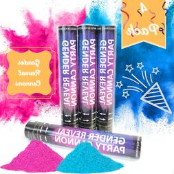 4 Baby Gender Reveal Powder Cannons Party Poppers Smoke Cann