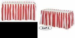 4 Pack RED & WHITE Striped Table Skirt Carnival Circus Decor