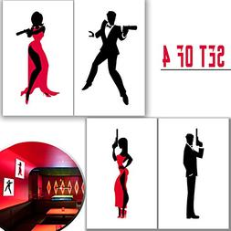 "Set of 11""x17"" 4 Secret Agent Silhouette Art Posters. Spy Fi"