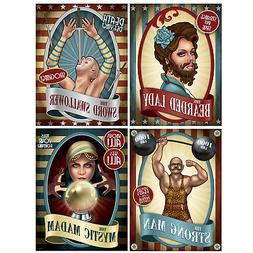 4 Vintage Circus Poster Cutouts Hanging Decoration Carnival