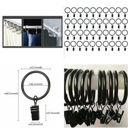 40 Pack Metal Curtain Rings w/ Clips Black Decorative Draper