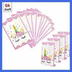 40 Pack Unicorn Party Favors Bags Themed Birthday Decoration