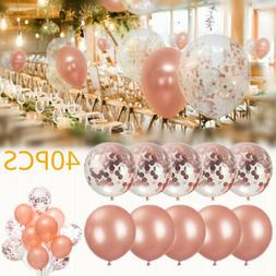 "40PCS Latex Confetti Balloon Rose Gold 12"" Wedding Birthday"