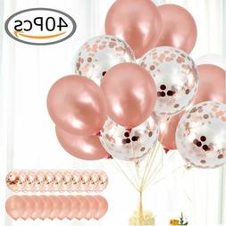 "40x Latex Confetti Balloons Rose Gold 12"" Wedding Birthday P"