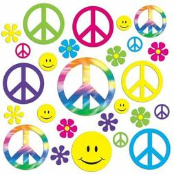 42 Groovy 60's PEACE, Flower Power, Smiley Cutouts Birthday