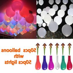 50-200Pcs LED Balloons Light Up PARTY Decoration Wedding Kid
