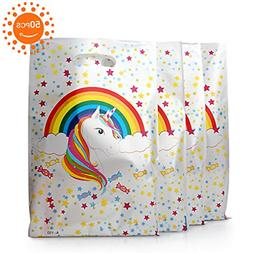 50 Pack Plastic Unicorn Gift Bags For Birthday Party Supplie