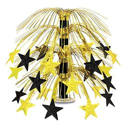 Beistle 50553-BKGD Black and Gold Star Cascade Centerpiece,