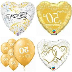 50th Anniversary *12-pc* Gold Heart Foil and Latex Party Bal
