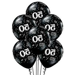 50th Birthday Anniversary Black White Balloons Party Decorat