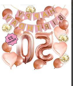 50th Birthday Decorations Rose Gold Banner Heart Shaped Ball