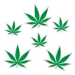 6 Weed Cutouts Decor Birthday Party 1960's 420 Marijuana Can