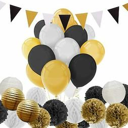 Paxcoo 69 Pcs Black and Gold Party Decoration with Balloons