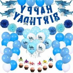 69Pcs Shark Birthday Party Decorations Shark Theme Party Sup