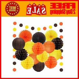 6pcs Happy Fall Thanksgiving Day Party Decorations Orange Ye