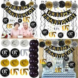 70Th Birthday Party Decorations Pack - Cheers To 70 Years Ba