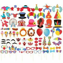 72-Pack Carnival Circus Selfie Photo Booth Props Party Decor