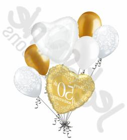 7pc 50th Gold Happy Anniversary Balloon Bouquet Party Decora
