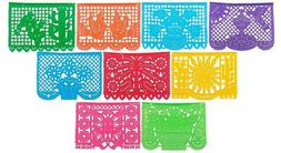 9-Pack Mexicano Large Plastic Papel Picado Banner Mexican Pa