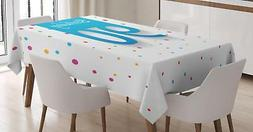 90th Birthday Tablecloth Ambesonne 3 Sizes Rectangular Table