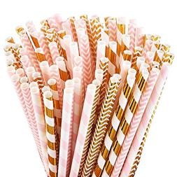 ALINK Biodegradable Paper Straws, 100 Pink Straws/Gold Straw