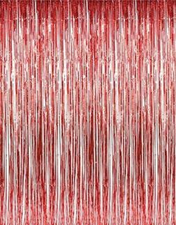 Set of 2 Red Foil Fringe Door & Window Curtain Party Decorat