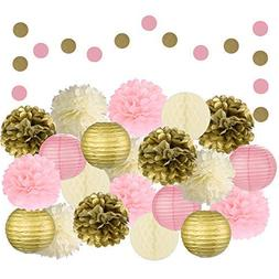Adorable 22 Pcs Mixed Pink, Gold & Ivory Party Decorations b