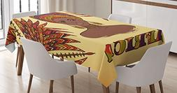 African Tablecloth by Ambesonne, Ethnic Woman in Traditional