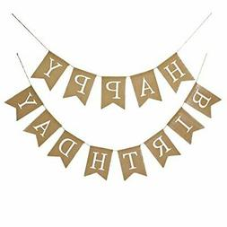 Fecedy Alphabet Happy Birthday Burlap Banner For Birthday Pa