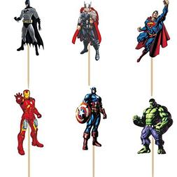 Pack of 24 The Avengers and Superheros Cupcake Topper Picks