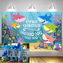 baby shark carnival birthday party banner background
