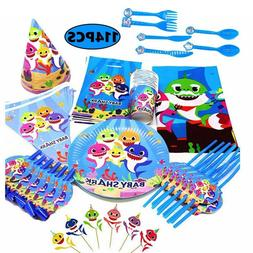 Baby Shark Kids Birthday Party Supplies Tableware Tablecloth