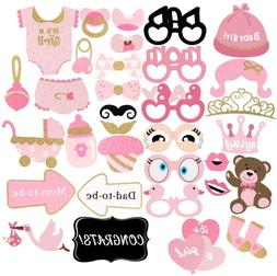 Baby Shower Decorations, 33Pcs Pink and Gold Girls Photo Boo