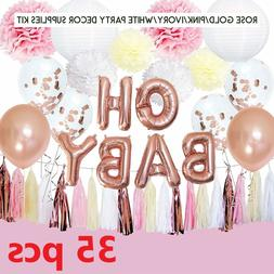 Rose Gold Baby Shower Decorations for Girl OH Baby Banner Ga