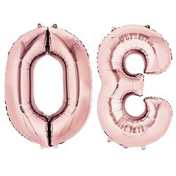 Number Balloons 40'' Rose Gold 30 for 30th Birthday Party De