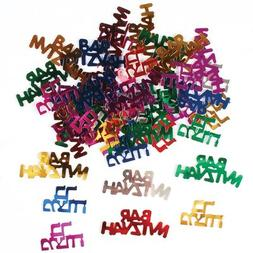 Multicolored Bar Mitzvah Confetti in Hebrew and English, Bar