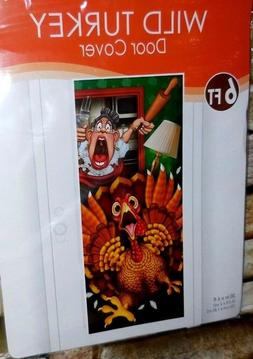 Beistle FUNNY THANKSGIVING Door Cover ~  CRAZY LADY CHEF RUN