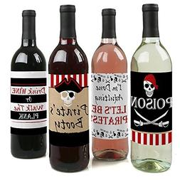 Beware of Pirates - Pirate Birthday Party Wine Bottle Label