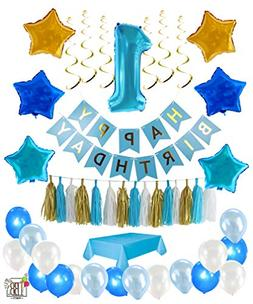 1st Birthday Boy Decorations kit- Complete One Year Party De