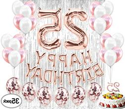 25th BIRTHDAY DECORATIONS| 25 Birthday Party Supplies| 25 Ca